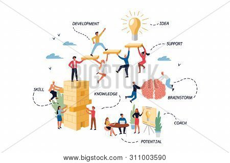 Business Concept Of Coaching, Mentoring, Skill, Brainstorm. Cartoon Flat Design, Isolated Vector Ill