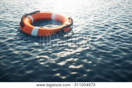 Lifebuoy On Water. Safety Concept. 3d Rendering