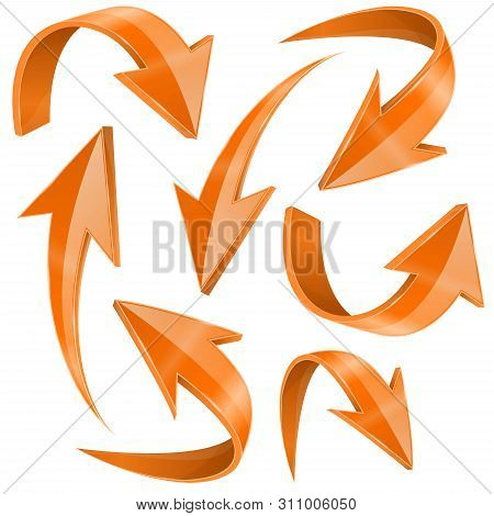 Orange Arrows Set. Curved Icons Collection. Vector 3d Illustration Isolated On White Background