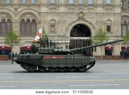 Moscow, Russia - May 9, 2019: Russian Main Battle Tank T-72b3 At The Parade In Honor Of Victory Day