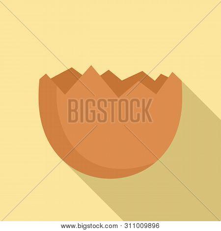 Half cracked eggshell icon. Flat illustration of half cracked eggshell icon for web design poster