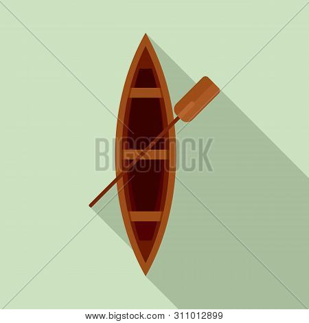 Top View Wood Boat Icon. Flat Illustration Of Top View Wood Boat Icon For Web Design
