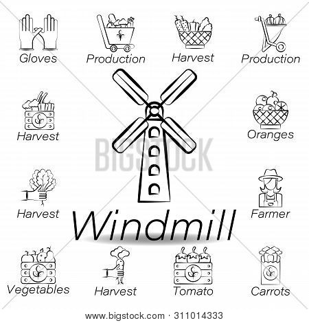 Windmill Hand Draw Icon. Element Of Farming Illustration Icons. Signs And Symbols Can Be Used For We