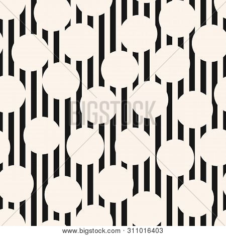 Vector Monochrome Seamless Pattern. Black And White Texture With Stripes, Lines, Circles. Op Art Sty