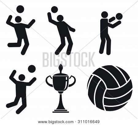 Volleyball Icons Set. Simple Set Of Volleyball Icons For Web Design On White Background