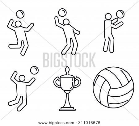 Volleyball Sport Icons Set. Outline Set Of Volleyball Sport Icons For Web Design Isolated On White B