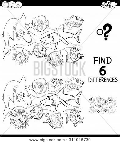 Black And White Cartoon Illustration Of Finding Six Differences Between Pictures Educational Game Fo