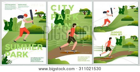 Vector Summer Posters Set - Natural Parkland Activities. Forests, Trees And Hills On Background. Pri