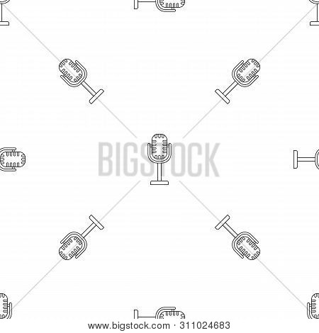 Studio Microphone Pattern Seamless Repeat Geometric For Any Web Design