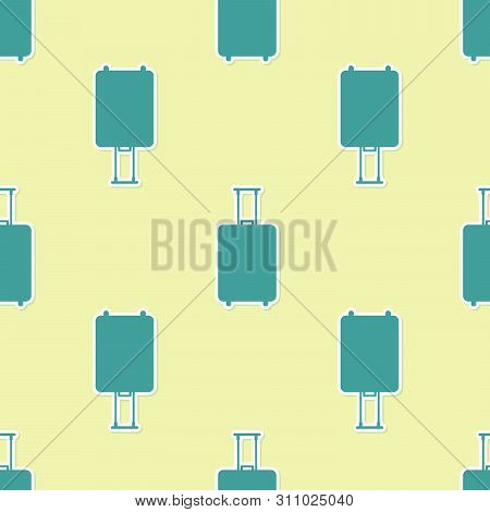Green Travel Suitcase Icon Isolated Seamless Pattern On Yellow Background. Traveling Baggage Sign. T
