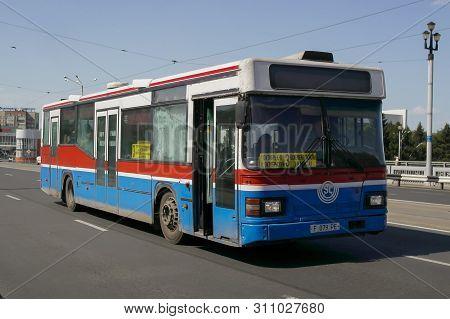 Kazakhstan, Ust-kamenogorsk, July 4, 2019: Scania Cn113. Old Bus On One Of The City Streets. Public