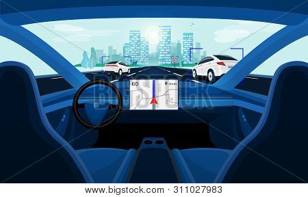 Autonomous Smart Driverless Car Self Driving. Car Interior Dashboard View On Road