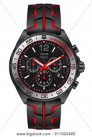 Red Grey Steel Watch Clock Chronograph For Men On White Background Design Modern Vector Illustration