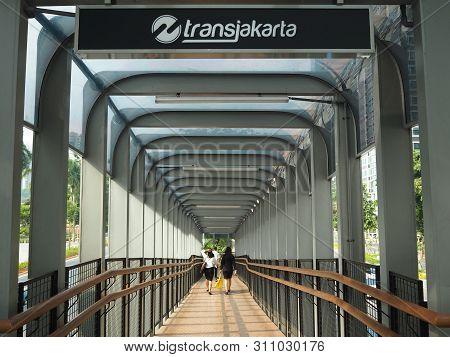 Jakarta, Indonesia - June 17, 2019: Gelora Bung Karno Pedestrian Bridge Connecting To Transjakarta B