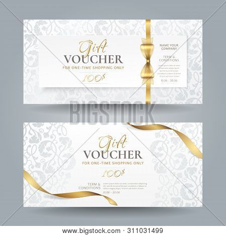 Set Of Stylish White Gift Vouchers With Golden Ribbons, Bow And Silver Vintage Floral Pattern. Vecto