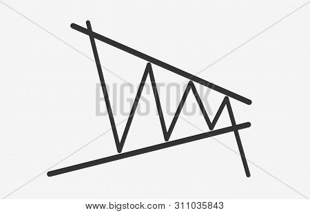 Bearish Contracting Triangle Figure Technical Analysis. Black And White Flat Vector Icon -  Stock An