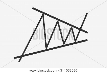Bullish Contracting Triangle Figure Technical Analysis. Black And White Flat Vector Icon -  Stock An