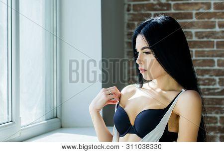 Sexual Costume For Pleasure. Passionate Mysterious Lover. Enjoying Morning Sunlight. Sensual Girl Se