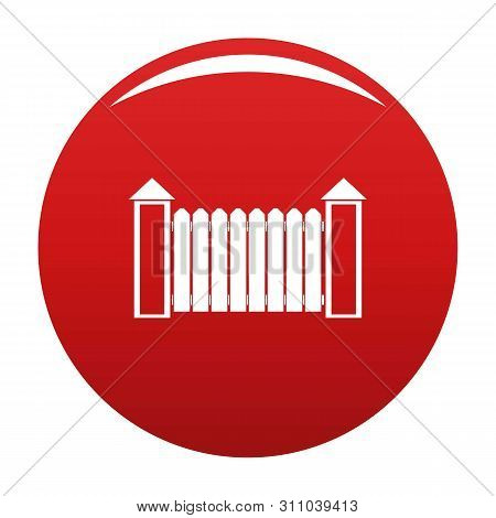Fence With Turret Icon. Simple Illustration Of Fence With Turret Icon For Any Design Red