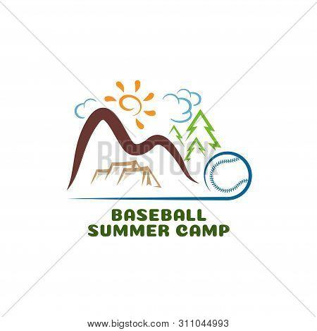 Logo baseball summar camp. Fun cartoon logo. poster