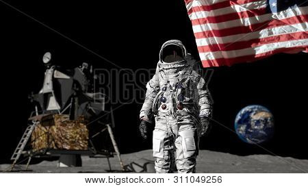 3d Rendering. Astronaut Saluting The American Flag. Cg Animation. Elements Of This Image Furnished B