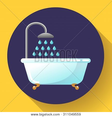 Bathtub With Shower Flat Icon Vector. Water Treatments, Take A Bath Or Relax In The Bathtub Vector I