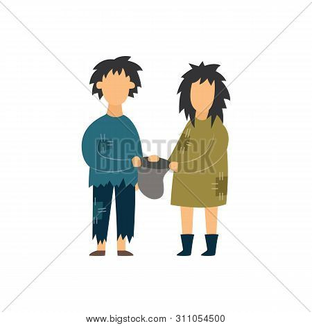 Homeless Couple Begging Flat Vector Illustration Isolated On White Background.