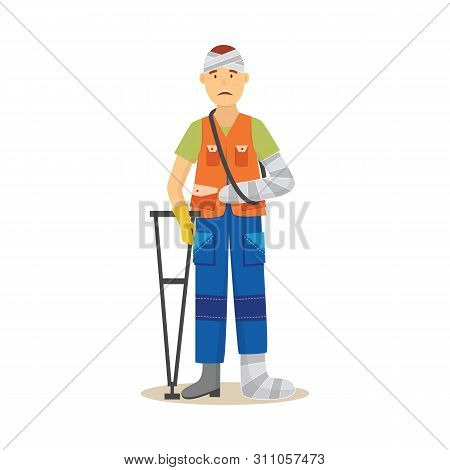 Man Worker In Uniform With Body Injury Vector Illustration Isolated On White.