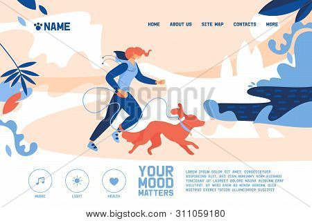 Concept Banner With Young Woman Jogging With Large Orange Or Red Dog. Vector Outdoor Illustration Wi