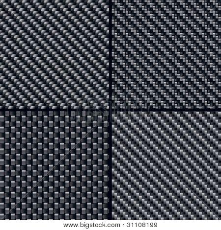 Set of four carbon fiber seamless patterns. Vector Illustration