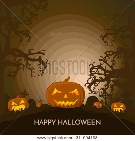 Haunted Happy Halloween Vector Banner With Pumpkins In Full Moon Light.