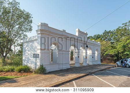 Barberton, South Africa - May 2, 2019: The Entrance To The Historic De Kaap Stock Exchange In Barber