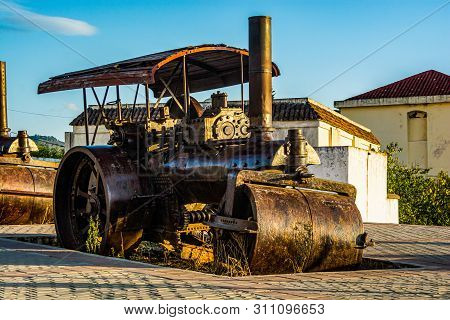 Chefchaouen, Morocco - October 20, 2013. Old Steamroller In Sunset