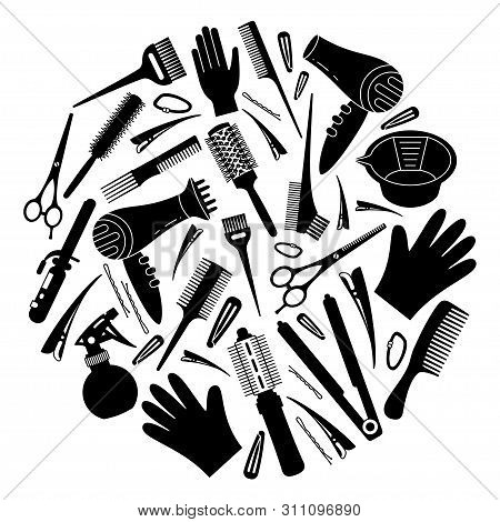 Black And White Hairdresser Tools Concept. Decoration For Beauty Salon. Hair Dresser Themed Vector I