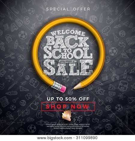 Back To School Sale Design With Graphite Pencil, Brush And Typography Letter On Black Chalkboard Bac