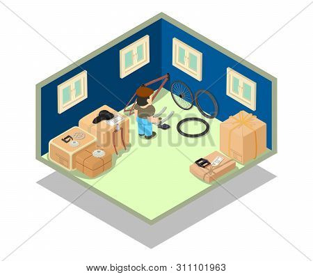 Stockroom Concept Banner. Isometric Banner Of Stockroom Concept For Web, Giftcard And Postcard