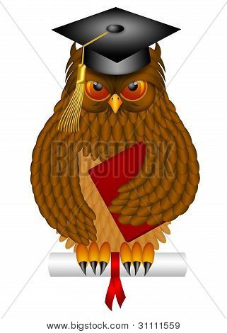 Wise Old Owl with Feathers and Claws Wearing Graduation Cap Holding Diploma Book Illustration Isolated on White Background poster