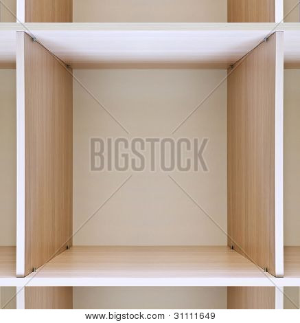 empty wooden shelves in department store