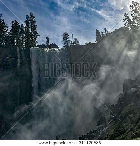 Sun Rays Light Up The Mist At Vernal Falls In Yosemite Valley, Yosemite National Park, California