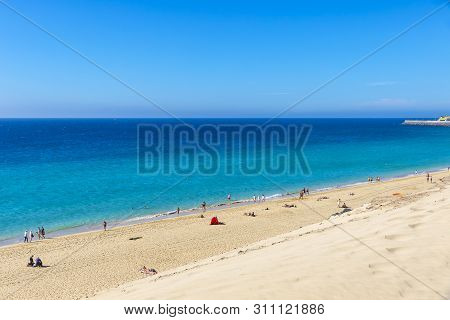 Beach In Morro Del Jable Town (morro Jable Beach) On Fuerteventura Island, Canary Islands, Spain. On