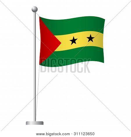 Sao Tome And Principe Flag On Pole. Metal Flagpole. National Flag Of Sao Tome And Principe Vector Il
