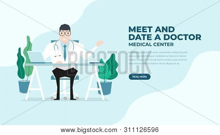 Doctor Sat At The Desk Flat Style. Practitioner Doctor Man In Hospital Medical Office. Consultation