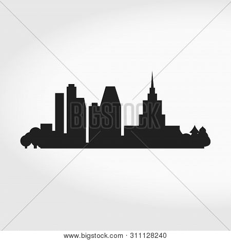 Big City Skyline Silhouette. Business Center. Modern And Classic Skyscrapers. Vector Illustration.