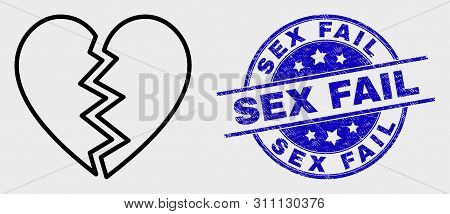 Vector Stroke Broken Heart Icon And Sex Fail Seal Stamp. Blue Rounded Distress Seal Stamp With Sex F
