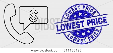 Vector Contour Financial Phone Message Pictogram And Lowest Price Seal Stamp. Blue Rounded Distress