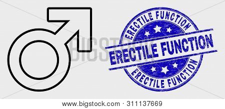 Vector Line Male Symbol Icon And Erectile Function Seal Stamp. Blue Round Grunge Seal Stamp With Ere