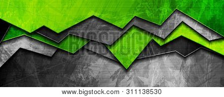 Abstract Bright Green And Grey Grunge Banner Design. Vector Background