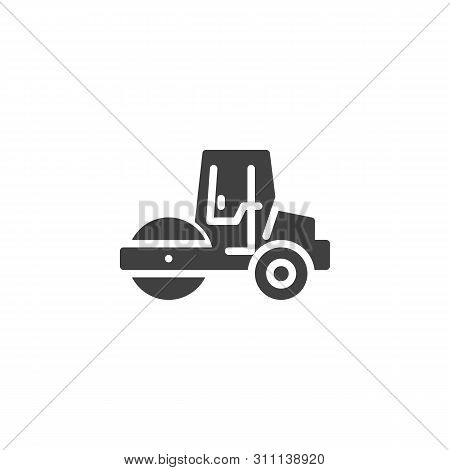 Road Roller Vector Icon. Filled Flat Sign For Mobile Concept And Web Design. Asphalt Paver Glyph Ico