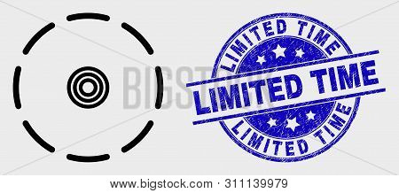 Vector Linear Round Perimeter Pictogram And Limited Time Stamp. Blue Round Textured Stamp With Limit