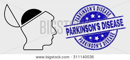 Vector Linear Open Mind Icon And Parkinson's Disease Watermark. Blue Round Scratched Watermark With